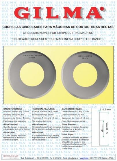 CUCHILLAS CIRCULARES PARA MAQUINAS DE CORTAR TIRAS RECTAS