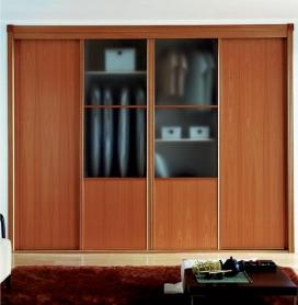Puertas deslizantes paneles de melamina de cerezo y cristal ácido