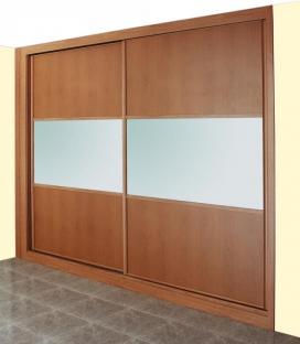 Puertas deslizantes paneles de melamina de cerezo y cristal lacado blanco