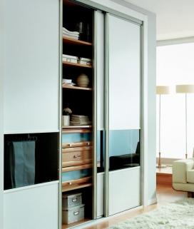 Puertas deslizantes paneles de melamina blanca combinado con cristal negro