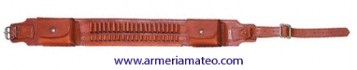 Canana piel vaqueta para balas con porta cargadores.