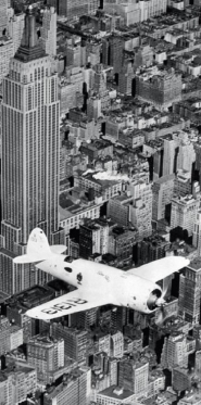 Hawks airplane in flight over New York city