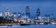 River Thames and London cityscape at dusk