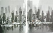 Díptico Manhattan tonos grises - blancos