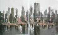 Diptico de Manhattan tonos grises - negros -...