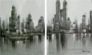 Díptico de Manhattan tonos grises - negros