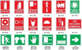 Señales de Equipos contra incendios, Vias de seguridad e Informativas