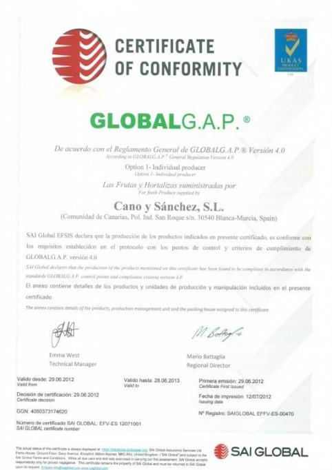 CERTIFICADO GLOBALGAP
