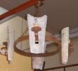 Lámpara de 4 luces forja y tejas antiguas