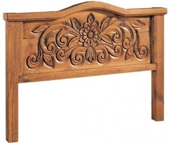 Cabecero mexicano rustico tallado el mueble artesano for Muebles tallados en madera