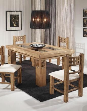 Conjunto mesa y sillas rustica mexicana el mueble for Mesas y sillas rusticas