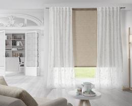 Central Roller blind.- Ref. Technical jacquard 1151 c/ 12  Sides.- Ref. Embroidery 2433 c/ 21