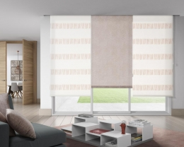 Sides Roller blind.- Technical jacquard 2161 c/07  Central Roller blind.- Technical jaquard 2989 c/ 07