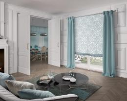 Fabric Blind.- Ref. Organza 4111 c/39    Sides.-            Ref. Coordinate 4183 c/39