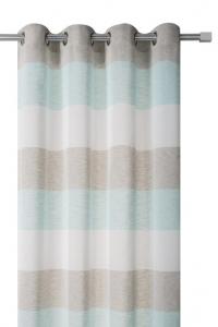 Cortina confeccionada o con ollados, diseño de rayas horizontal en 3 colores turquesa, natural y visón en medida de 140 cm x 260 cm y 200 cm x 260 cm