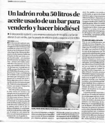 Un ladrón roba 50 litros de aceite usado de un bar