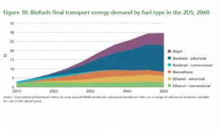 Participación de los diferentes tipos de biocarburantes en el transporte