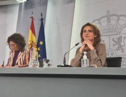 Teresa Ribera, durante la rueda de prensa en la que se anunció el primer paquete de fondos del Plan de Recuperación.