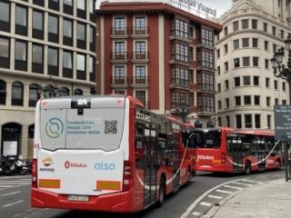 Autobuses de Bilbobus que usan hidrobiodiésel en la prueba piloto que se lleva a cabo en Bilbao