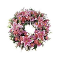 FUNERAL RING OF PINK FLOWERS