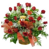 18 ROSES BASKET AND TEDDY