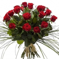24 RED LONG EXCLUSIVE ROSES