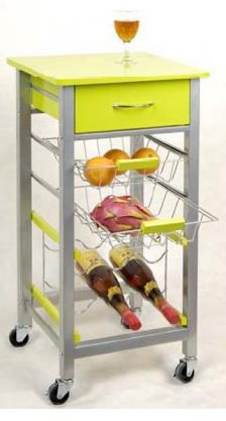 Carrito verdulero met lico colores amarillo con botellero for Carritos auxiliares de cocina