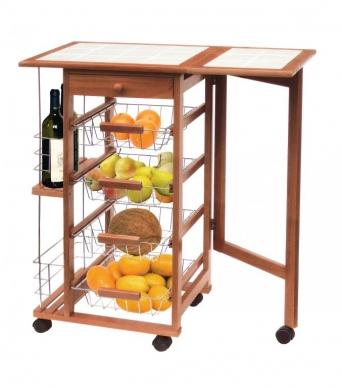 Carrito verdulero extensible mesa auxiliar pino for Carritos auxiliares de cocina