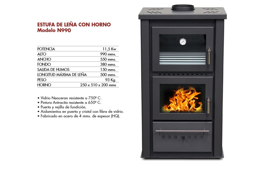 Estufa con horno de lea perfect simple cheap estufa lea for Estufa de pellets con horno precio