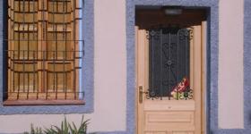 Puertas plafonadas de una hoja con portión...