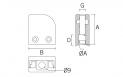 Pinza para vidrio CC-753 L/R BA AISI 316