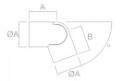 codo de inoxidable espejo aisi 304 para pasamanos de madera JF barmet SA-413 comenza plano