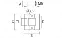 Base para poste cuadrado de acero inoxidable AISI 316 Barmet AV-610 planno