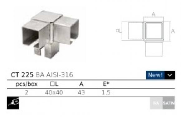 Conector esquinero CT225 40x40  AISI316 barmet