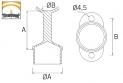 soporte de acero inoxidable para pasamanos ST302 AISI 316 plano