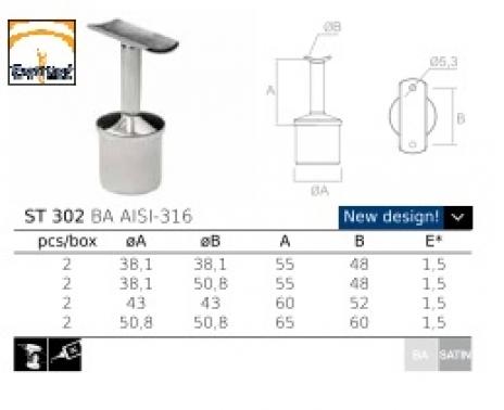 soporte de acero inoxidable para pasamanos ST302 AISI 316