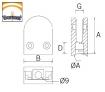 Pinza vidrio CC-701 AISI 316 inoxidable plano