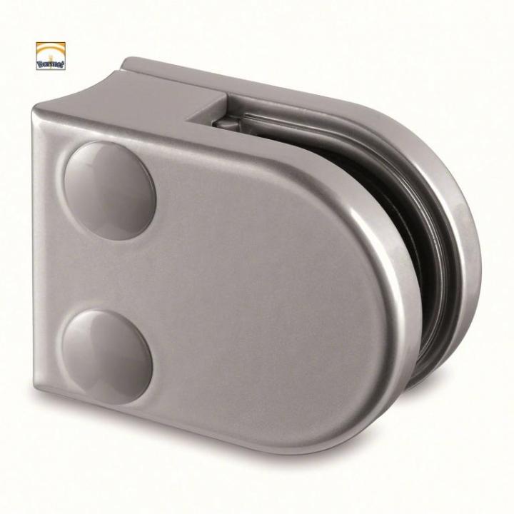 Pinza Zamac blanco aluminio RAL 9006 Modelo 20 para barandilla de vidrio