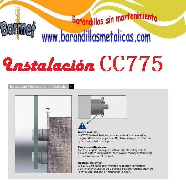 instalación barandilla de vidrio con soportes de acero inoxidable para vidrio CC775