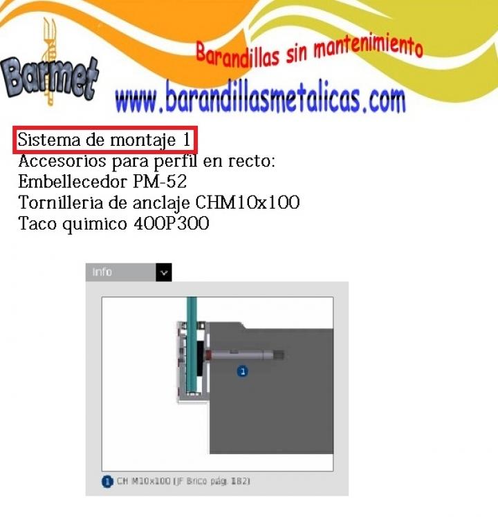 sistema de montaje del perfil de montaje lateral de barandilla al aire de comenza barmet 1302