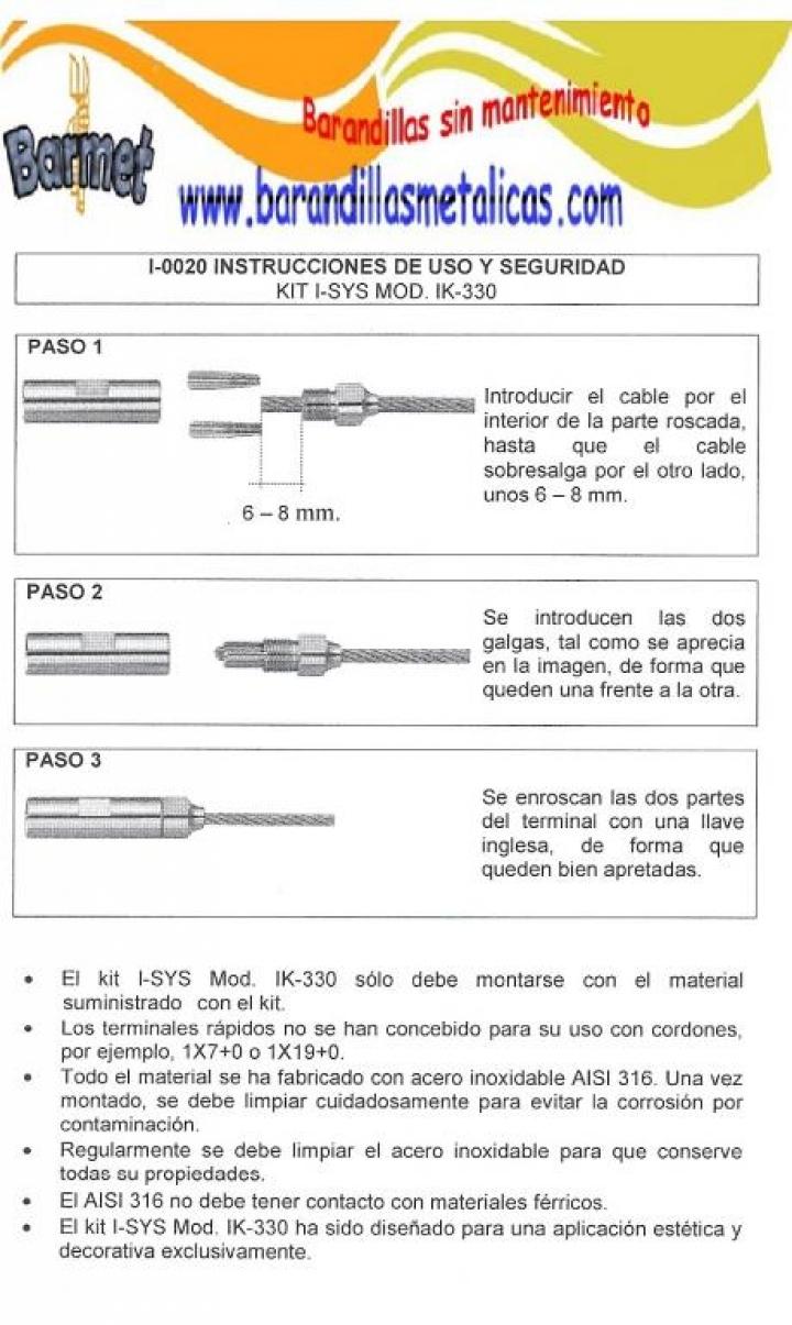 instrucciones para el tensor de acero inoxidable expert