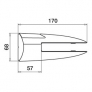 Pinzas para vidrio de acero inoxidable Barmet AISI316 para barandilla 6000 plano