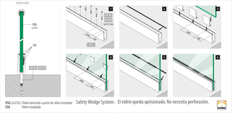 Sistema de montaje easy glass slim superior - Normativa barandillas exteriores ...