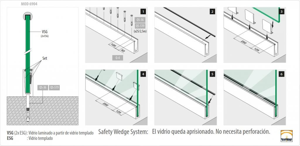 Sistema de montaje Easy Glass Slim montaje superior