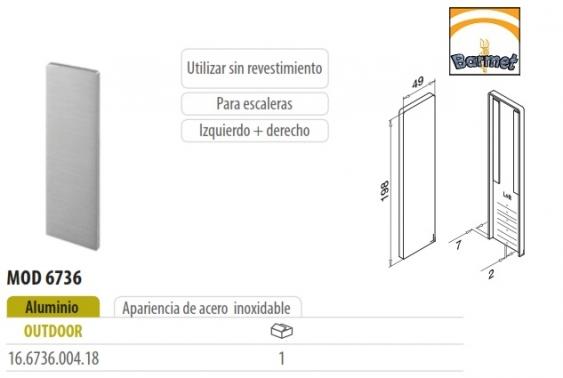 tapa de aluminio para barandilla de escalera