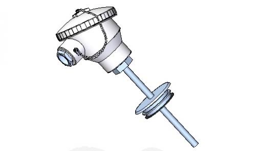 Termorresistencia higiénica con conexión brida varivent o triclamp.