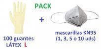 guantes de examen desechables de látex talla L MASCARILLA KN95 FFP2