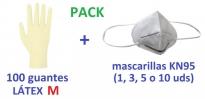 guantes de examen desechables de látex talla M MASCARILLA KN95 FFP2