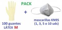 Kit de guantes LATEX talla M 100 ud y mascarilla protectora