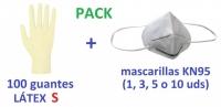 Kit de guantes LATEX talla S 100 ud y mascarilla protectora